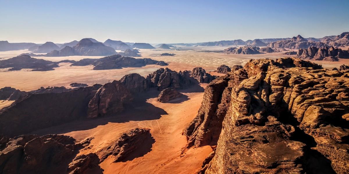 View of Wadi Rum Desert in Jordan from Hot Air Balloon