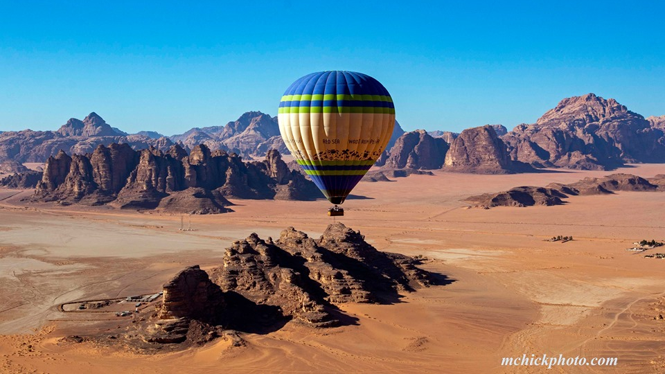 Flying in a Hot Air Balloon over Wadi Rum