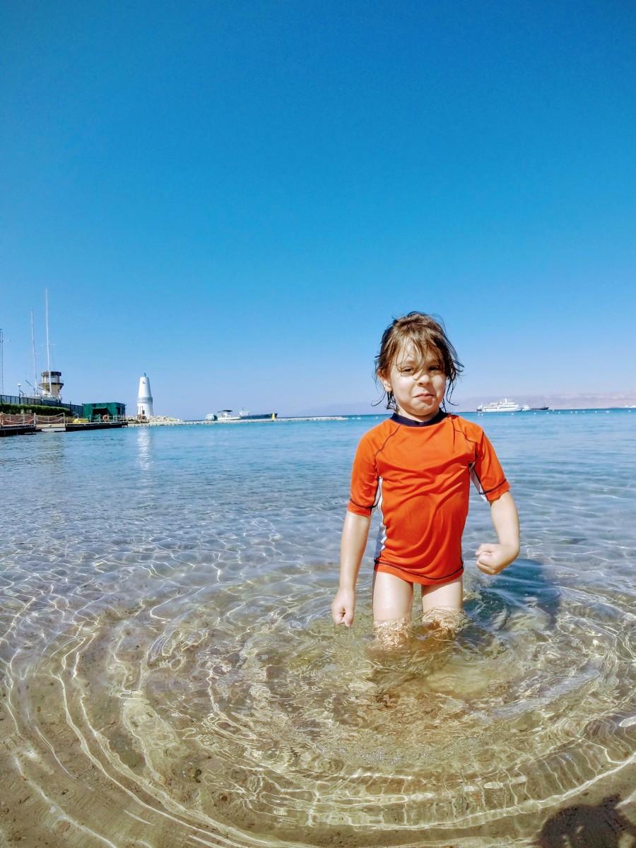 Child in the Red Sea at Movenpick Aqaba City