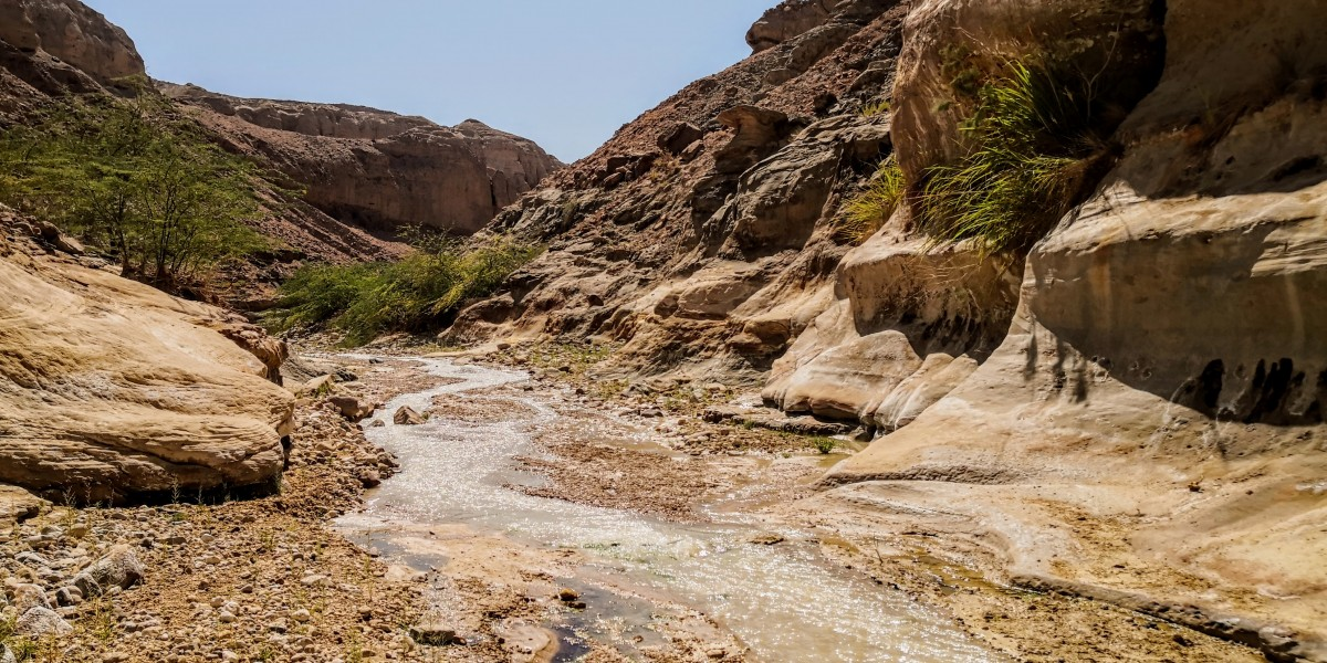 Water flowing through Wadi Assal