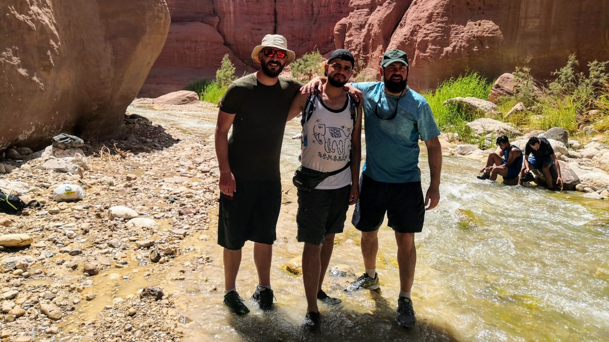 Hiking with friends at Wadi Al-Hasa
