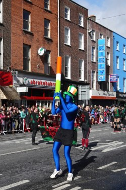Blue Man. Originally, the color associated with St. Patrick was actually blue, but it's changed over the years...