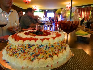 my giant cake...and sangria!