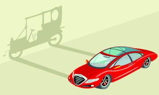 representacin automovil moderno proyectando sombra automovil antiguo en contrapicado