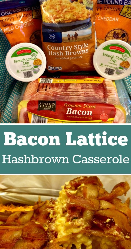 Bacon Lattice Hashbrown Casserole | Cheesy Hashbrown Casserole Recipe with directions on how to make a bacon lattice for the top of a casserole. Christmas side dish | Decadent Food | Holiday Food | Potluck Side Dish