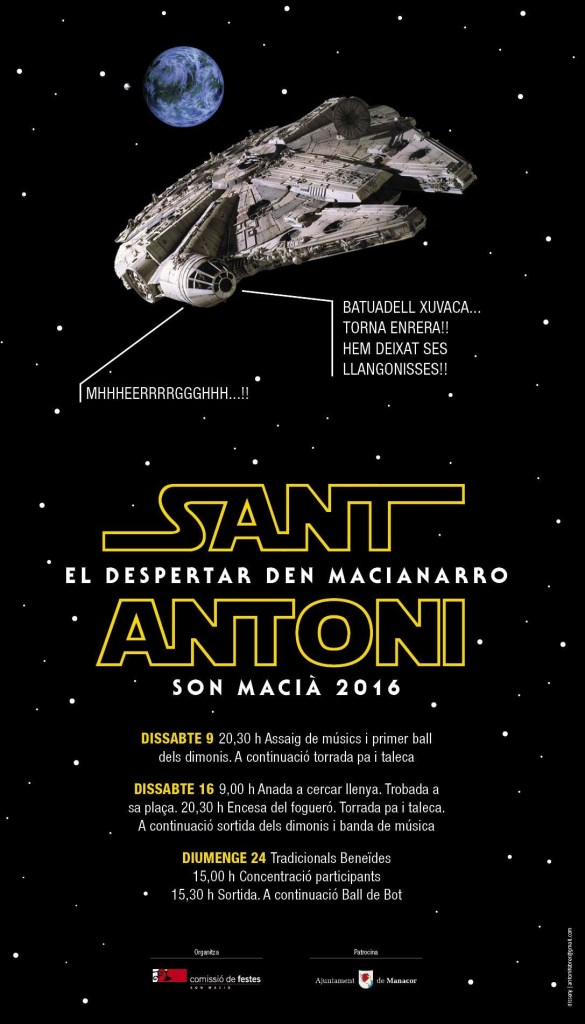 The village of Son Macia, near Manacor, has added a topical touch to the design of their Sant Antoni event poster!