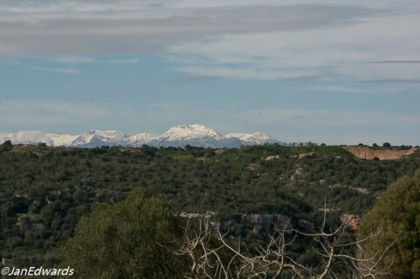 Snow on Majorcan mountains