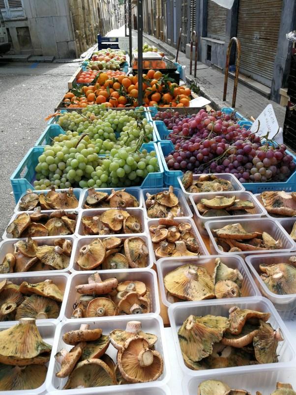 Market stall fruit and veg