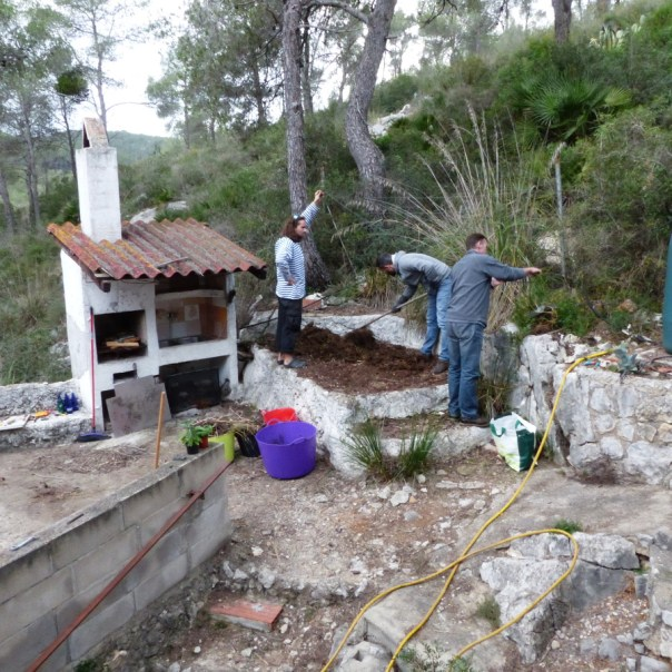 permablitz at a property in Spain