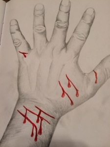 New #selfharm coping tool. I trace my hand then SI on the drawing (1/2)