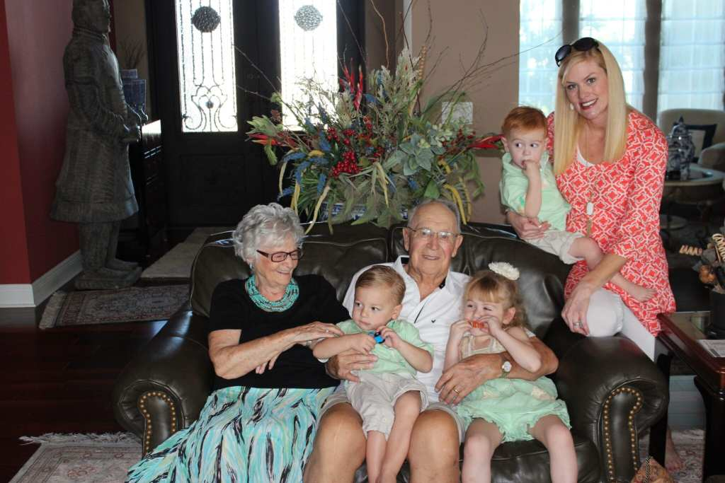 Grandpa Joe and Evelyn with the kids and I. I had to get into the photo holding Alex because he was not being as cooperative at Brielle and Charlie.