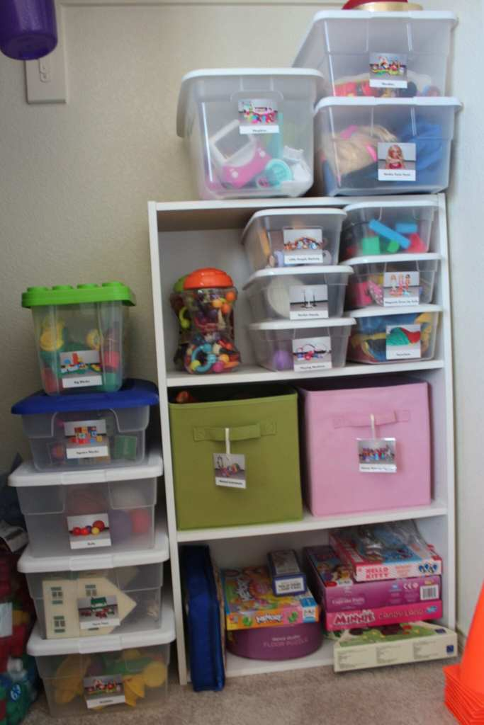Our playroom bins- we only take one out at a time. Once they are done, they put it all back in the bin, and then they can have another. They still have an entire toy box of random toys and whatnot that they can play with all day long, so their creativity and options and not stifled or limited.