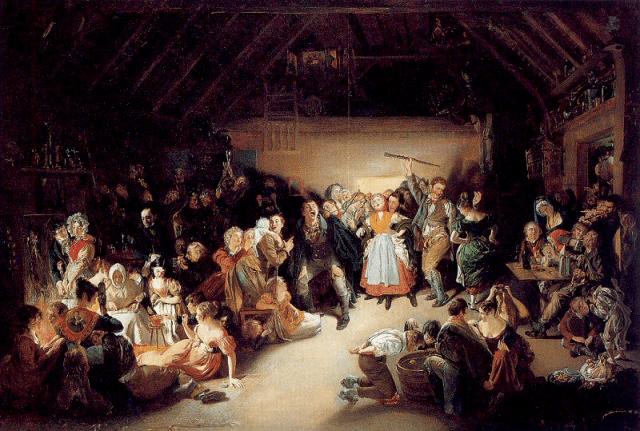Snap-Apple Night by Daniel Maclise (1832). Depicts a Halloween party in Blarney, Ireland