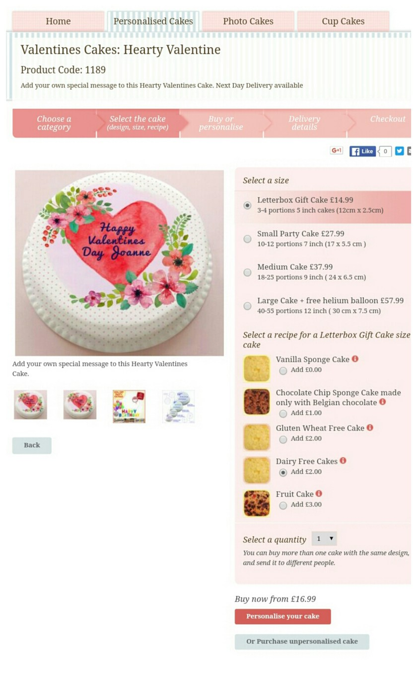 bakerdays, letterbox cake, Valentines Day, special occasion, gift, dairy-free cake, gluten-free cake, review