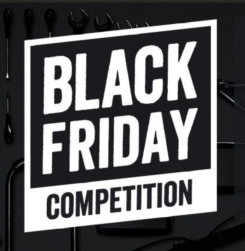 Black and white image saying Black Friday Competition