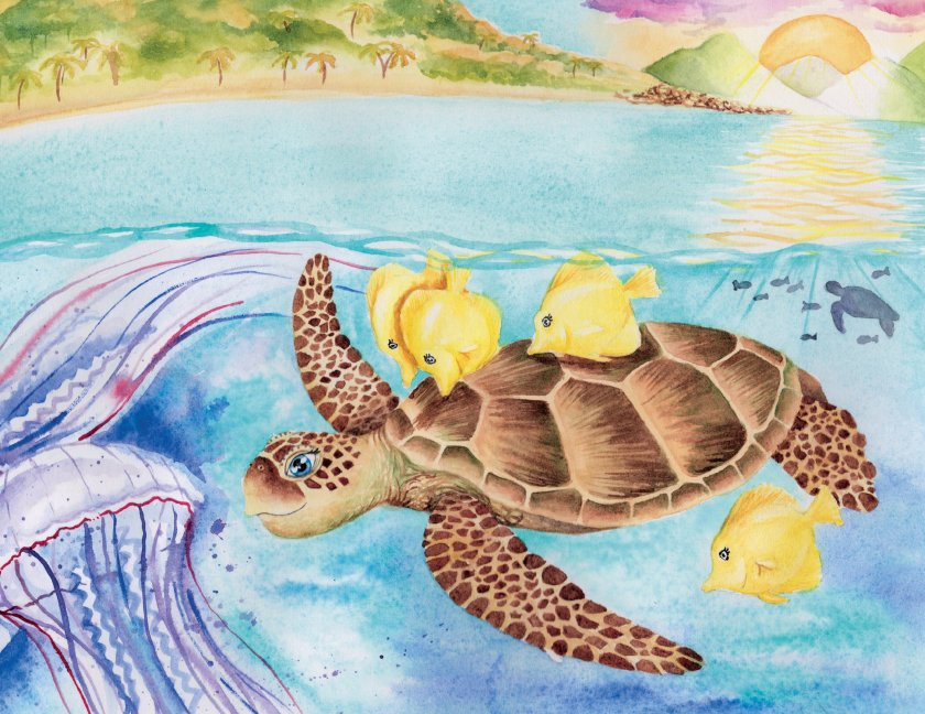 An illustration of Duffy the Sea Turtle after her release back into the ocean.