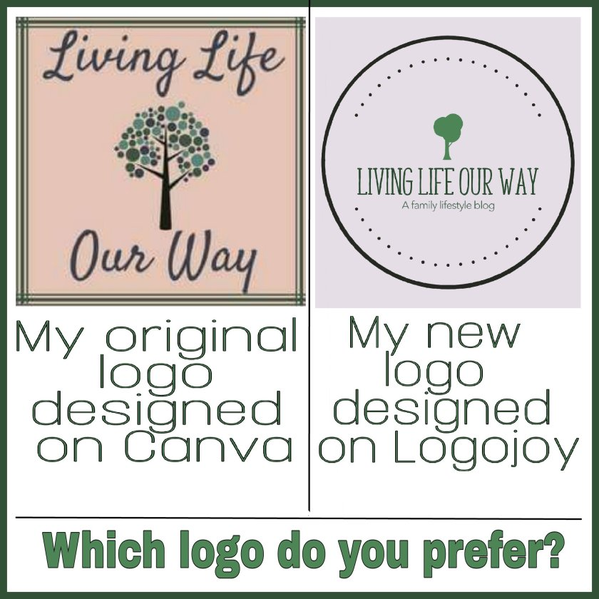 Living Life Our Way Canva logo and Logojoy logo side by side for comparison. Which logo do you prefer?