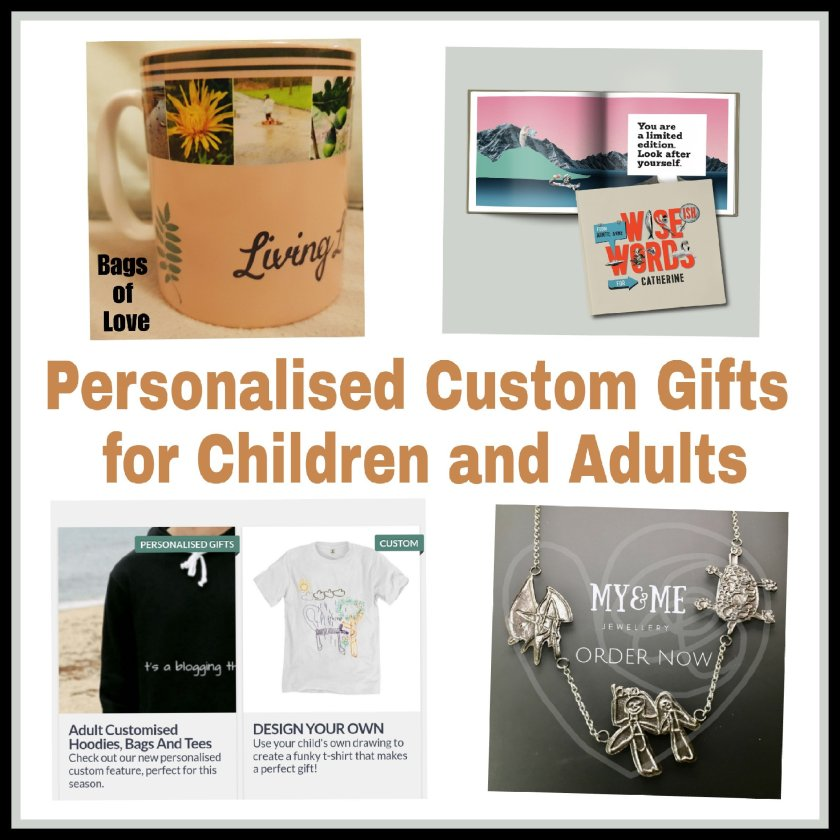 Collage of 4 pictures with caption Personalised Custom Gifts for Children and Adults. Gift guide images.