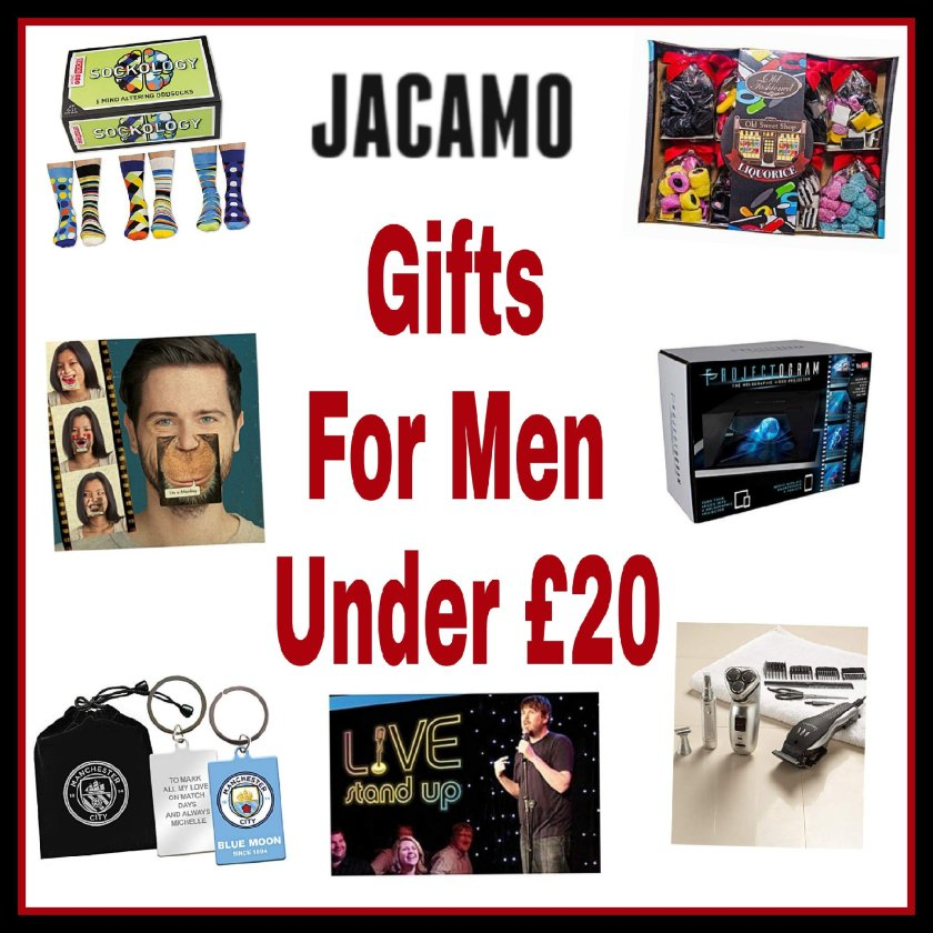 Collage of images of items on the gift guide with caption Jacamo gifts for men under £20