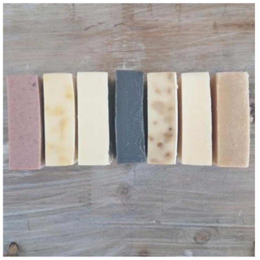 A set of 7 beautiful vegan, eco, ethical, natural handmade soaps.