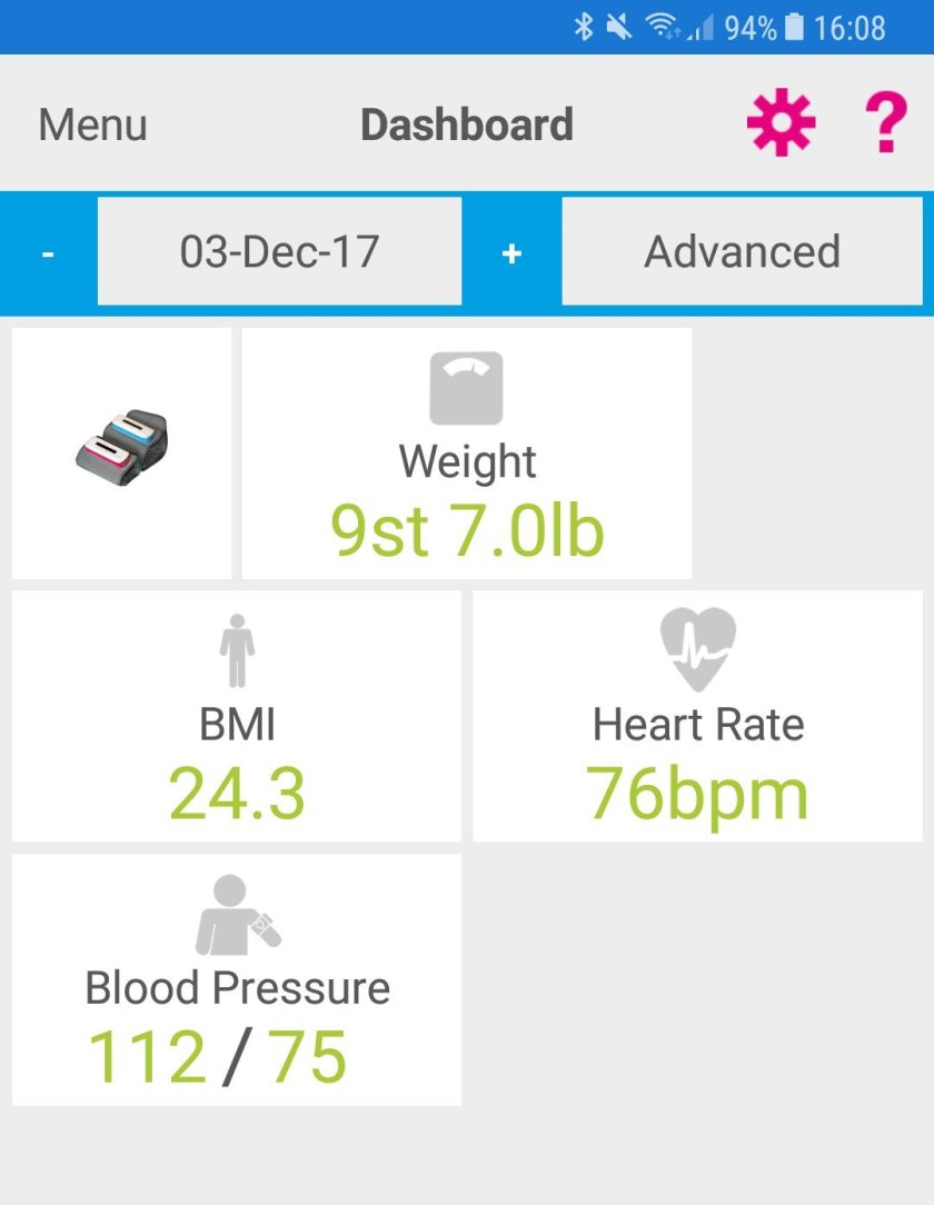 Screenshot of Activ8rlives app dashboard showing weight, BMI, heart rate and blood pressure.