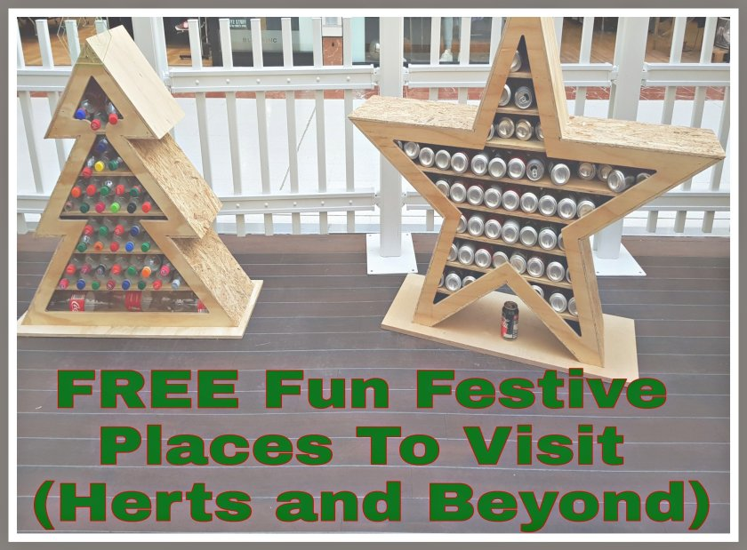 Christmas display with title 'Free fun festive places to visit (Herts and Beyond)'
