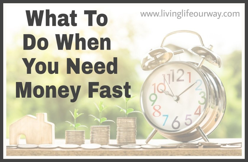Title 'What To Do When You Need Money Fast' with background image of clock and piles on coins