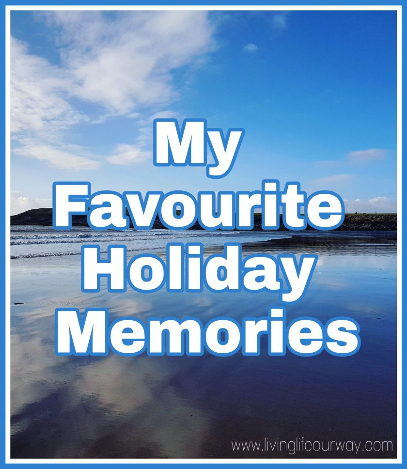 My Favourite Holiday Memories title with beach background