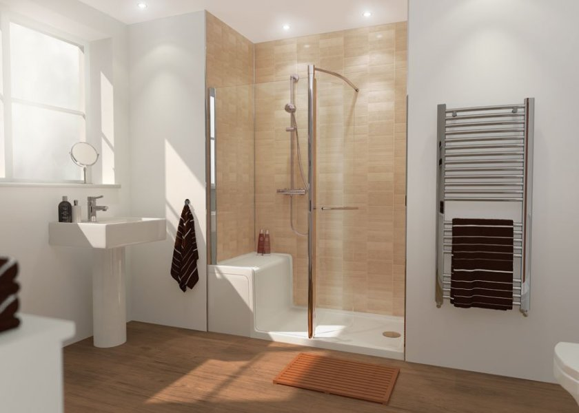 Walk in shower with seating