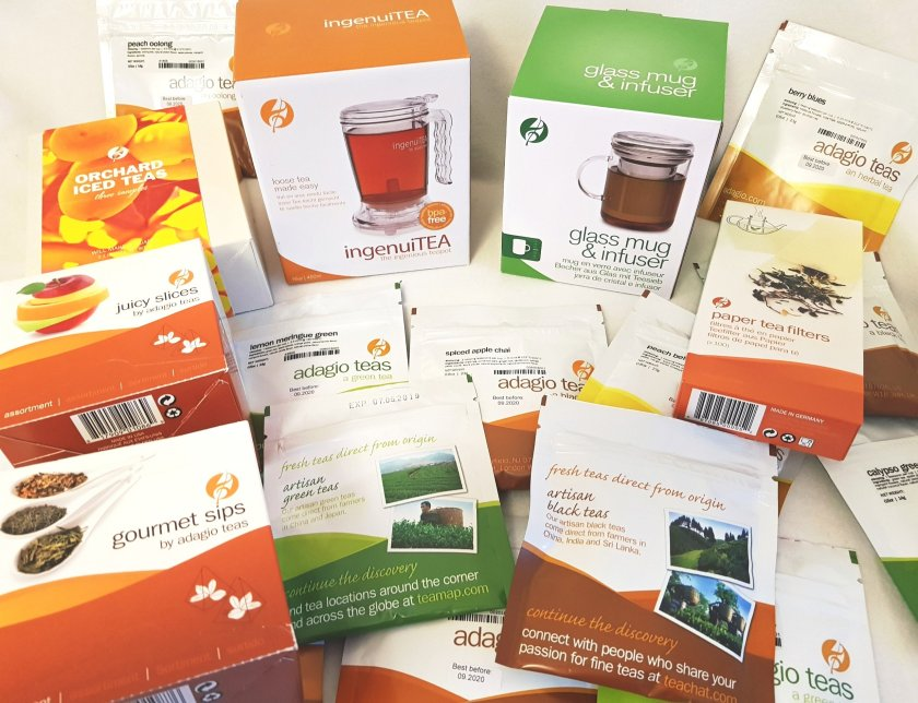 Bundle of Adagio loose teas, tea bags, ice teas and accessories inc ingenuitea, glass mug and infuser, tea filters