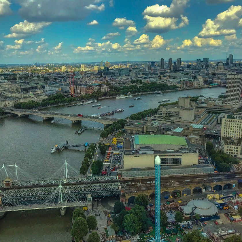 Aerial image of London river Thames