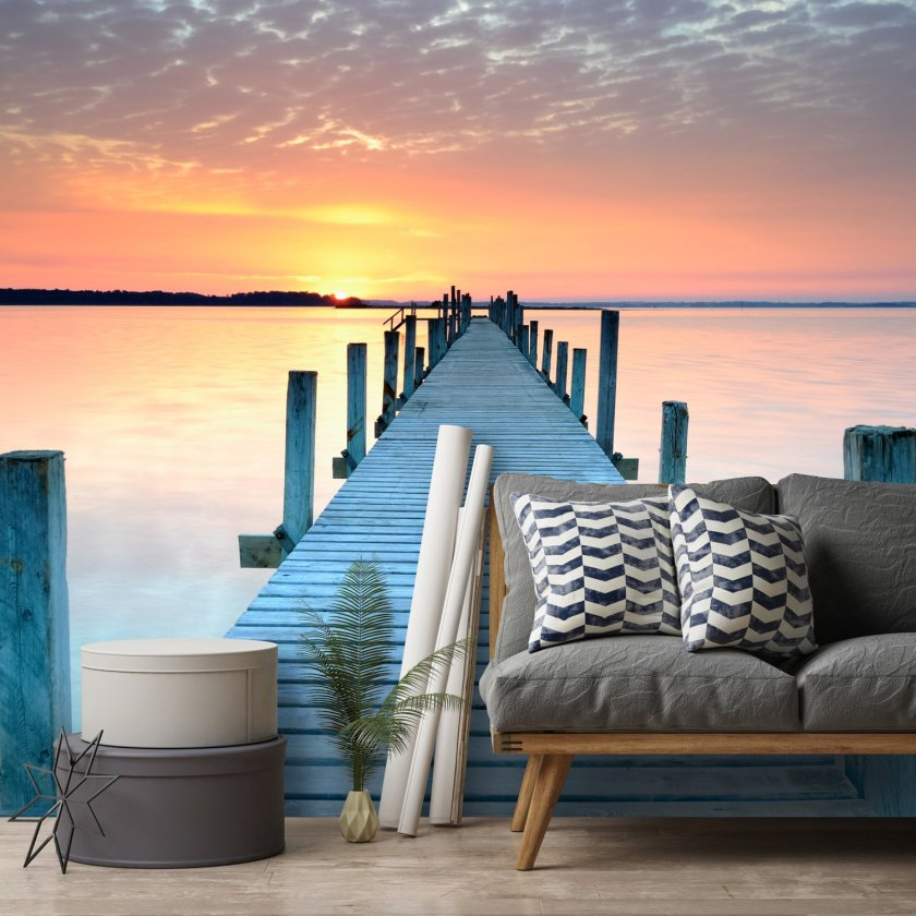 Sunset jetty beach wall mural by Wallsauce
