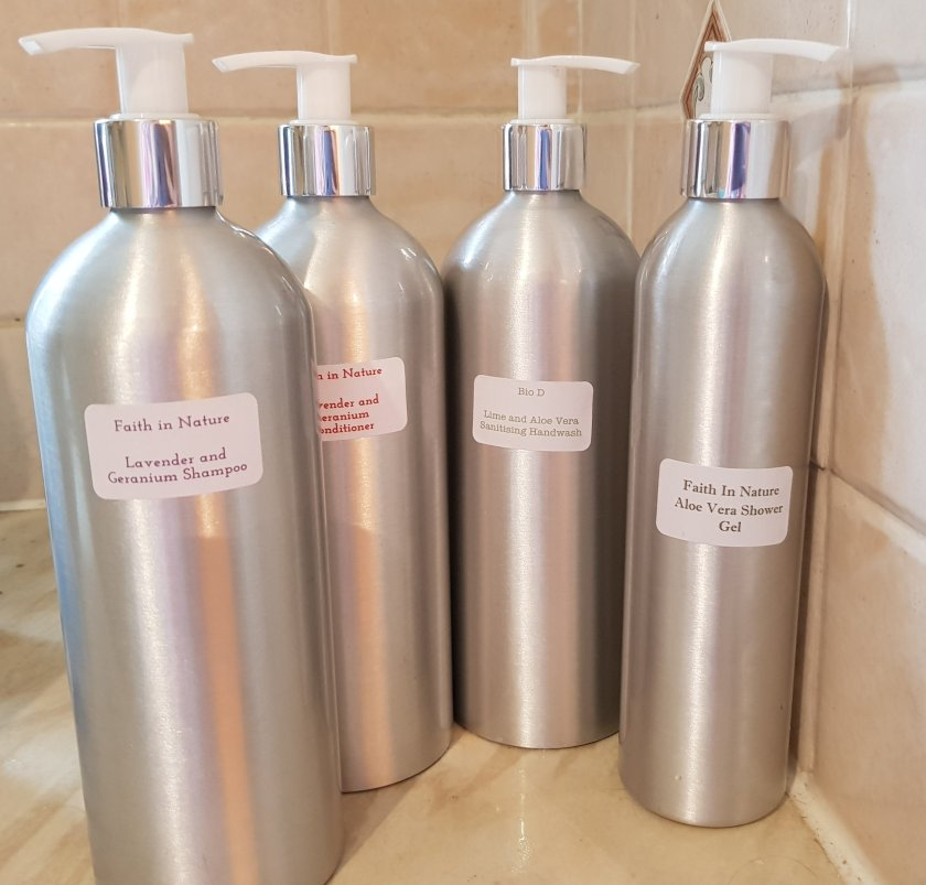 The Refill Pantry reusable refillable aluminium dispensers for zero waste shampoo, conditioner, handwash and shower gel #zerowaste #plasticfree