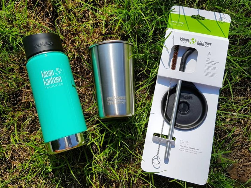 Klean Kanteen reusable drinks - cup, straw set and insulated bottle