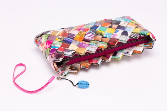 Clutch bag made from sweet wrappers
