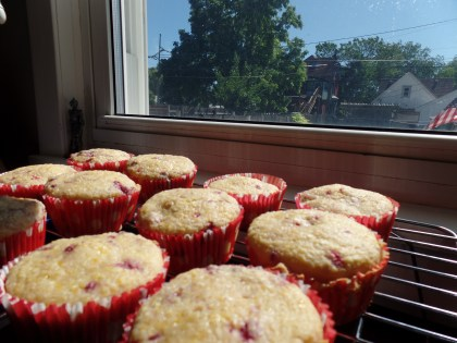 Raspberry corn muffins - great for breakfast on the go!