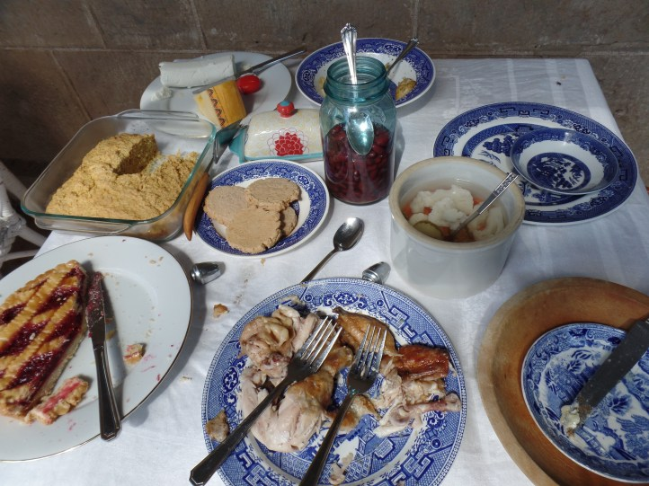 """Our luncheon spread. My """"Indian bread"""" (what they used to call cornbread) on the upper left."""