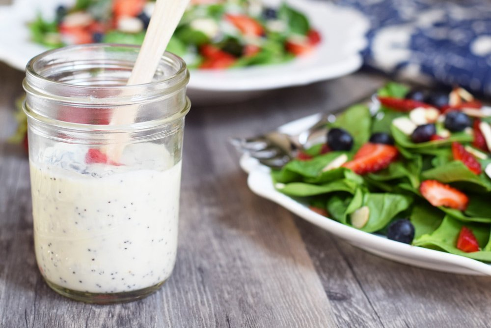 Spinach & Berry Salad With Creamy Poppyseed Dressing