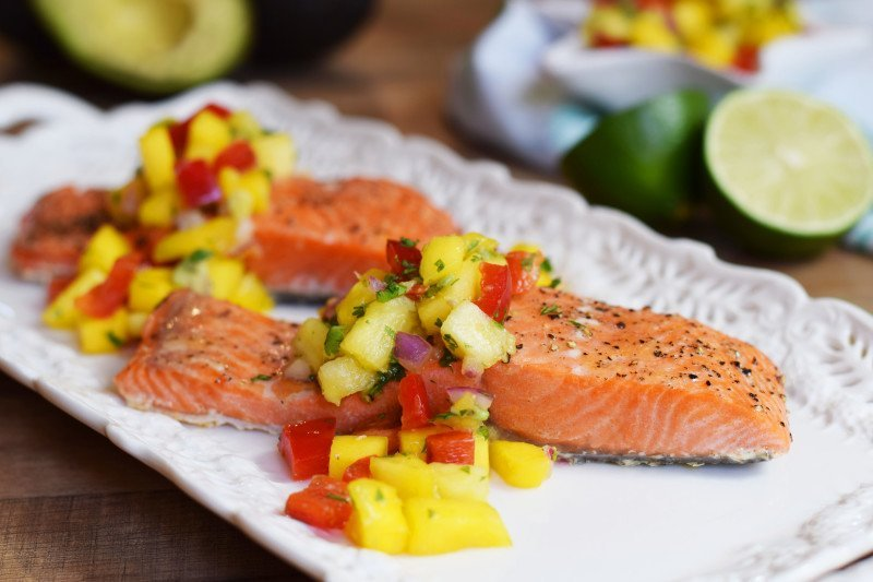 Simple Baked Salmon With Mango Pineapple Salsa