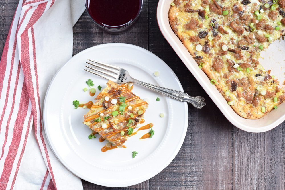 Hash Brown Breakfast Casserole with Sausage & Bacon