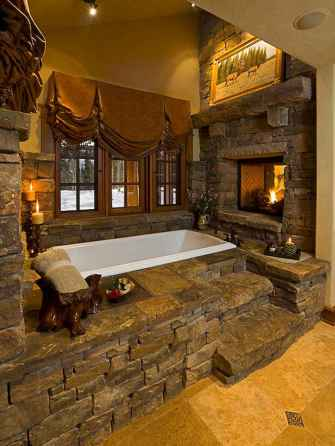 40 homely rustic bathroom ideas to warm you up this winter (25)