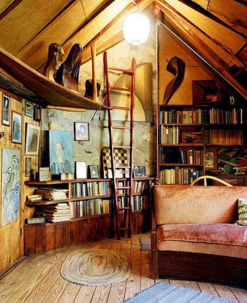 40+ stunning home libraries with rustic design (23)