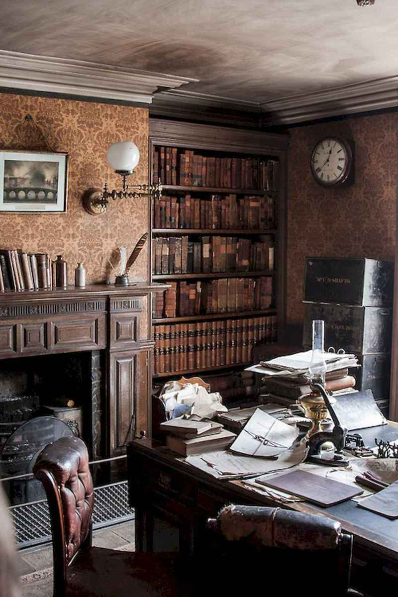 40+ stunning home libraries with rustic design (29)