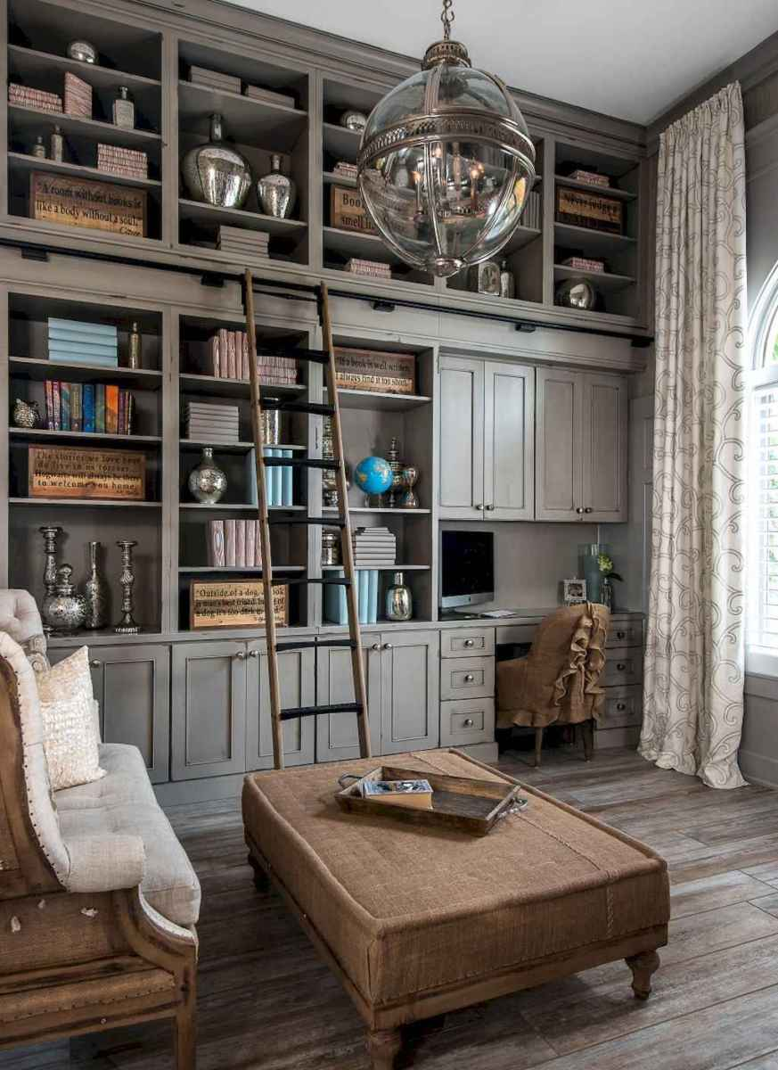 40+ stunning home libraries with rustic design (32)