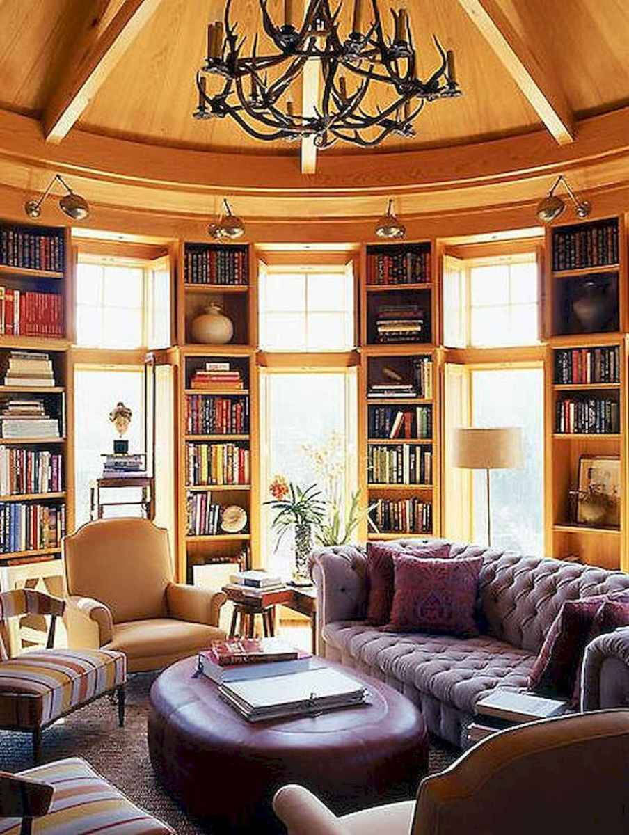 40+ stunning home libraries with rustic design (4)