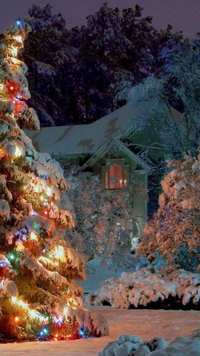70 Awesome Farmhouse Style Exterior Christmas Lights Decorations (34)