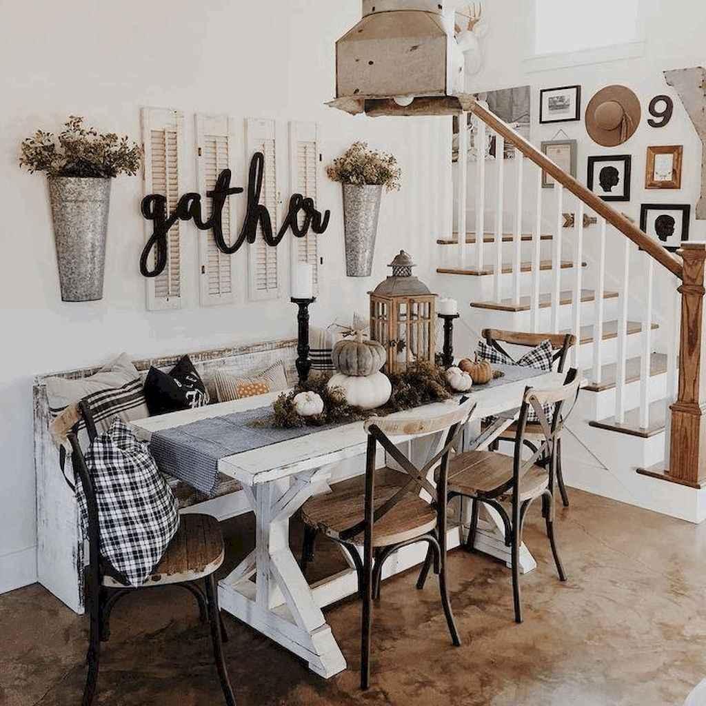 100 Rustic Farmhouse Dining Room Decor Ideas 63