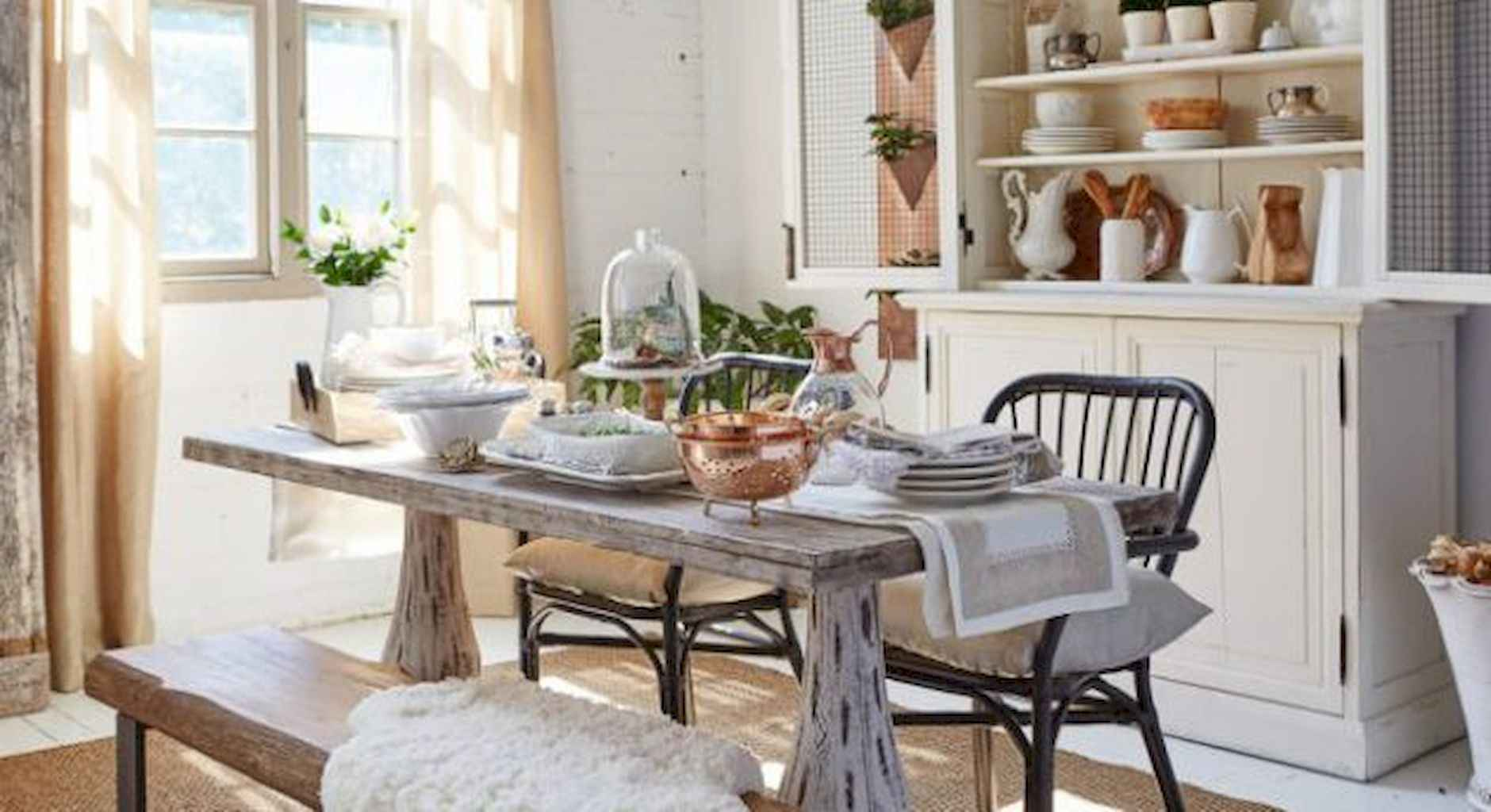 100 Rustic Farmhouse Dining Room Decor Ideas (67)