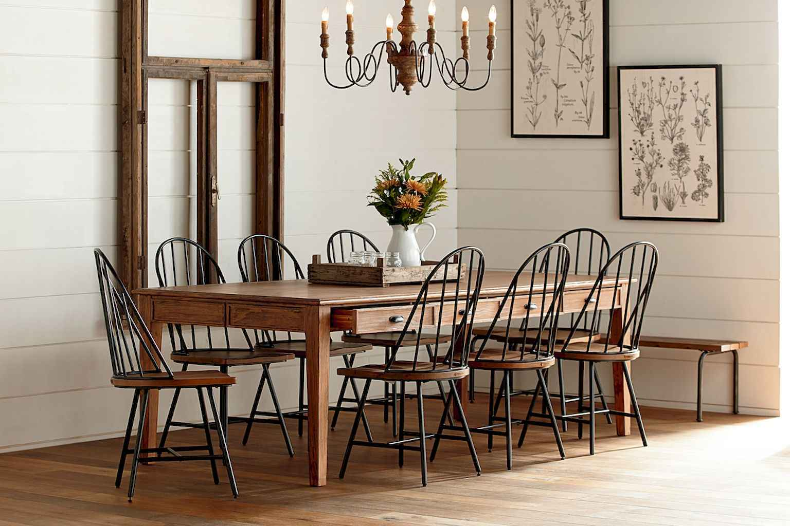 100 Rustic Farmhouse Dining Room Decor Ideas (99)