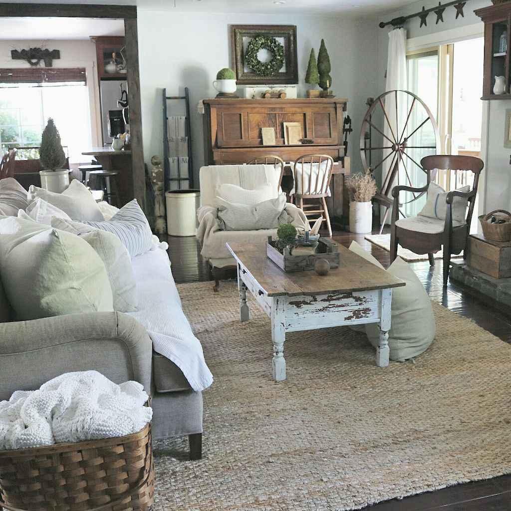 70 Rustic Farmhouse Living Room Decor Ideas (41